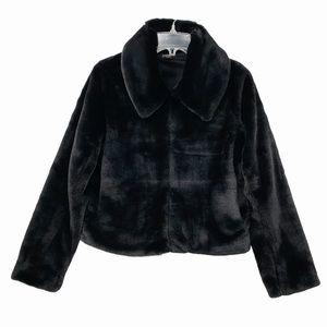 Black Plush Style Faux Fur Coat